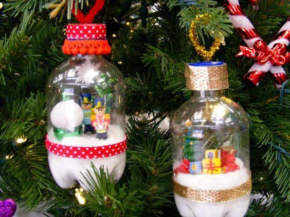 χριστουγεννιατικη διακοσμηση με πλαστικα μπουκαλακια