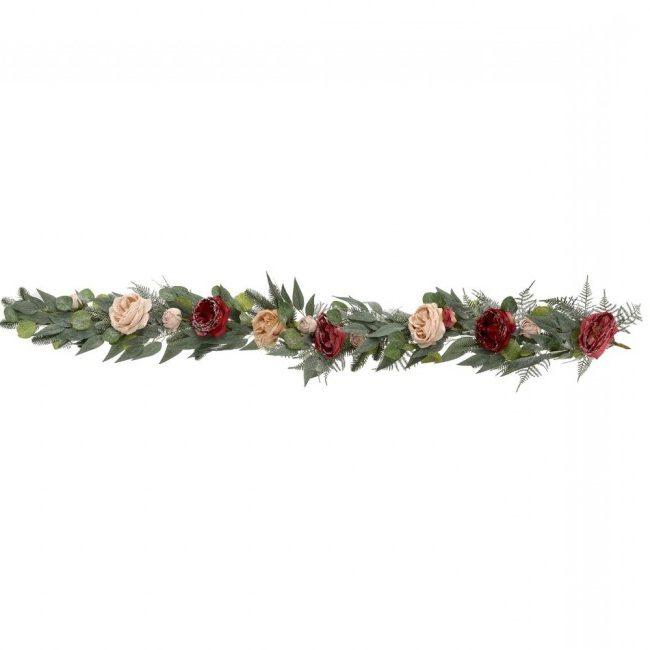 χριστουγεννιατικη γιρλαντα με τριανταφυλλα